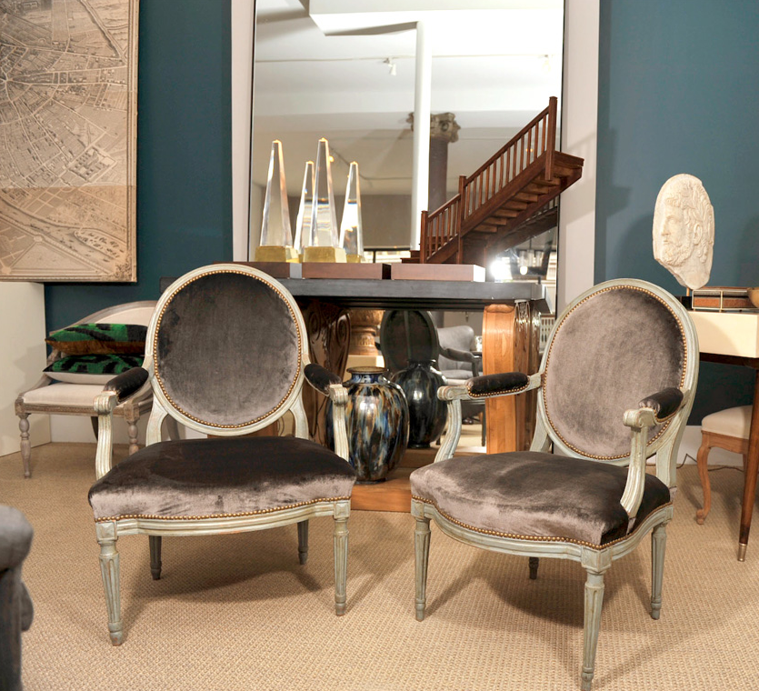 above pair of 18th century french fauteuils with oval back france
