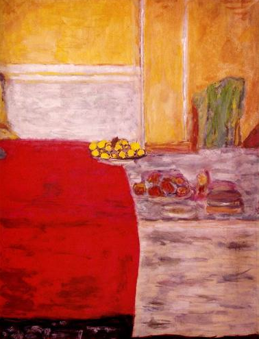 pierre bonnard, 1943 ~ fruit sur la tapis rouge