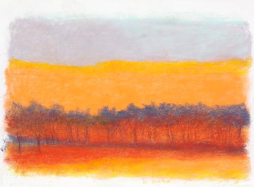 wolf kahn ~ gray, orange, black and red, 2013