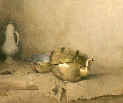 emil carlsen ~ brass kettle with porcelain coffee pot, 1910