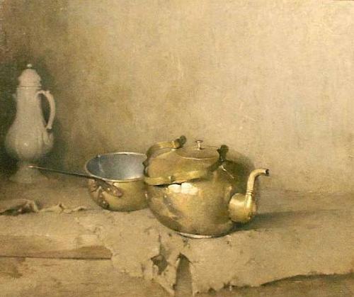 emil carlsen ~ brass kettle with porcelain coffee pot, 1910