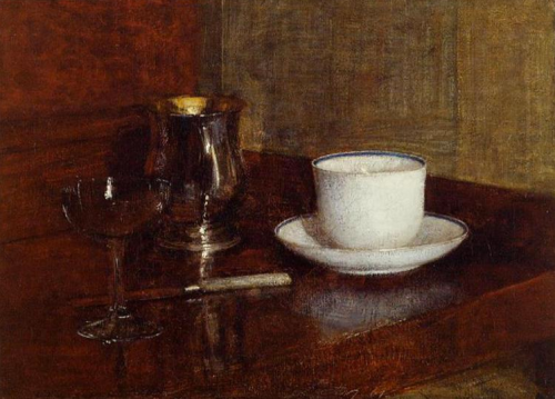 henri fantin latour ~ still life glass, silver goblet and cup of champagne, 1871