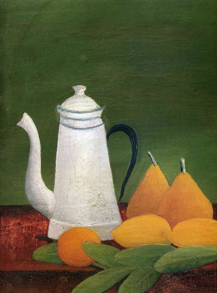 henri rousseau ~ still life with teapot and fruit