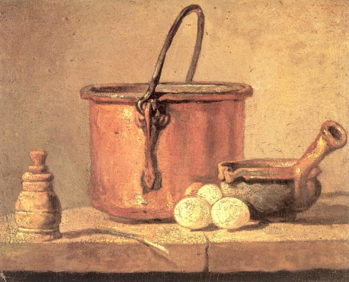 jean baptiste simeon chardin ~ still life of cooking utensils, cauldron, casserole and eggs, 1733-1734