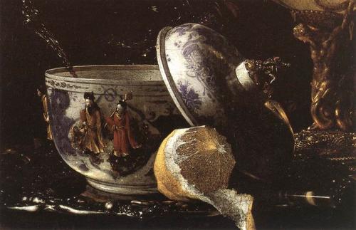 willem kalf ~ still life with nautilus cup (detail), 1662