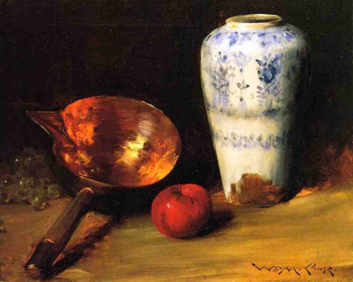 william merritt chase ~ still life with china vase, copper pot, an apple and a bunch of grapes