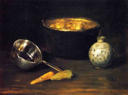 william merritt chase ~ still life with pepper and carrot, 1900